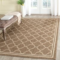 Safavieh Poolside Brown/Bone Indoor/Outdoor Bordered Rug - 4' x 5'7