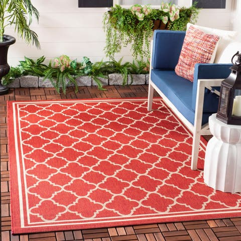Safavieh Courtyard Kailani Red/ Bone Indoor/ Outdoor Rug - 4' x 5'7""