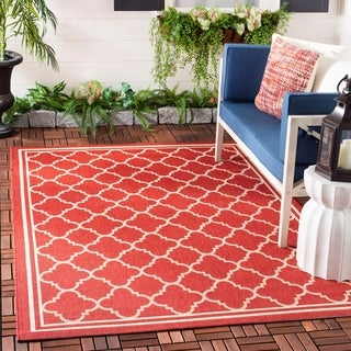 Safavieh Poolside Red/Bone Indoor/Outdoor Geometric Rug (5'3 x 7'7)