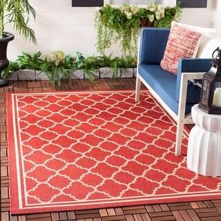 Safavieh Poolside Red/Bone Indoor/Outdoor Geometric Rug - 5'3 x 7'7