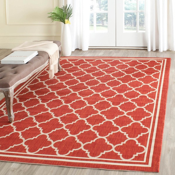 Safavieh Poolside Red/Bone Indoor/Outdoor Area Rug (6'7 x 9'6)