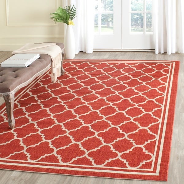 Safavieh Poolside Red/Bone Indoor/Outdoor Area Rug - 8' x 11'2'