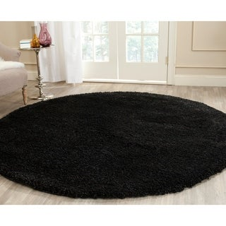 Safavieh California Cozy Solid Black Shag Rug (6' 7 Round)
