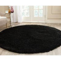 "Safavieh California Cozy Plush Black Shag Rug - 6'7"" x 6'7"" round"