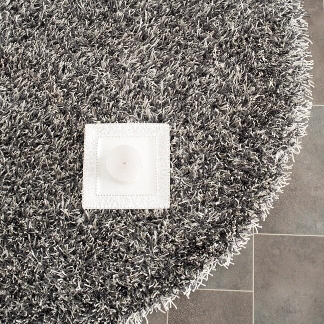 Safavieh Handmade New Orleans Shag Platinum/ Ivory Textured Polyester Round Rug (5' Round)