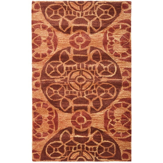 Safavieh Handmade Chatham Treasures Cinnamon N.Z. Wool Rug - 2'6 x 4'