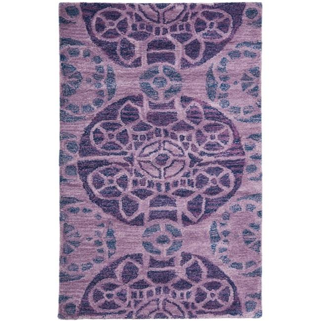 Safavieh Handmade Chatham Treasures Purple New Zealand Wool Rug - 2'6 x 4'