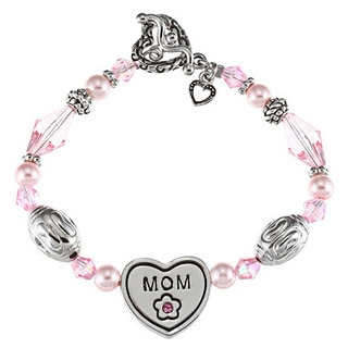 La Preciosa Silvertone Crystal 'Mom' Heart Toggle 7.5-Inch Bracelet