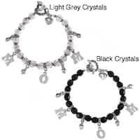La Preciosa Silvertone Crystal 'Mom' Heart Toggle 7.5-inch Bracelet