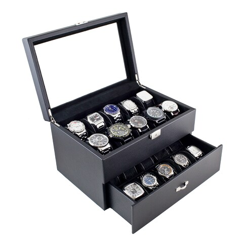 Caddy Bay Collection Carbon Fiber Pattern Finish Glass Top One Drawer 20 Watch Storage Case