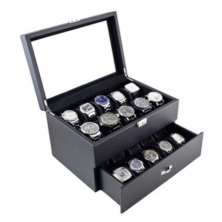 Caddy Bay Collection Carbon Fiber Pattern Finish Glass Top One Drawer 20 Watch Storage Case|https://ak1.ostkcdn.com/images/products/6578525/Caddy-Bay-Collection-Carbon-Fiber-Pattern-Finish-Glass-Top-One-Drawer-20-Watch-Case-P14153591.jpg?_ostk_perf_=percv&impolicy=medium