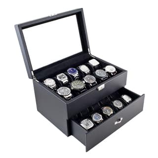 Caddy Bay Collection Carbon Fiber Pattern Finish Glass Top One Drawer 20 Watch Storage Case|https://ak1.ostkcdn.com/images/products/6578525/Caddy-Bay-Collection-Carbon-Fiber-Pattern-Finish-Glass-Top-One-Drawer-20-Watch-Case-P14153591.jpg?impolicy=medium
