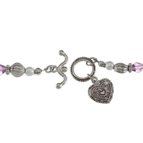 La Preciosa Silvertone Crystal Inspiration Heart Toggle 6.5-inch Bracelet