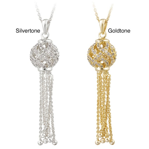 Icz Stonez Silvertone Cubic Zirconia Ball and Tassel Necklace