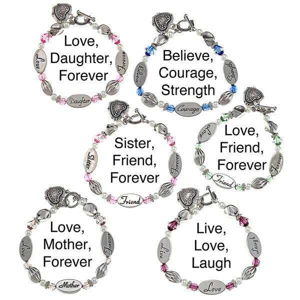 La Preciosa Silvertone Crystal Sentiments 7.5-inch Heart Toggle Bracelet