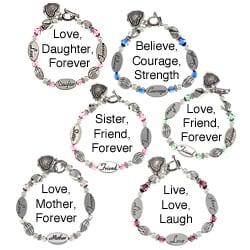 La Preciosa Silvertone Crystal Sentiments 7-1/2-inch Heart Toggle Bracelet