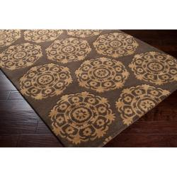Hand-Tufted Abstract Brown Oasis Wool Rug (5' x 8') - Thumbnail 1