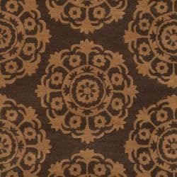 Hand-Tufted Abstract Brown Oasis Wool Rug (5' x 8')