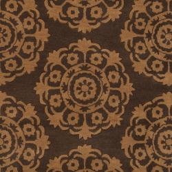 Hand-Tufted Abstract Brown Oasis Wool Rug (5' x 8') - Thumbnail 2