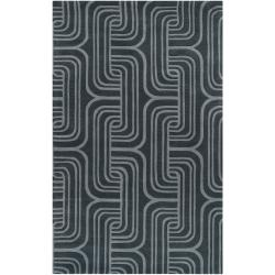 Hand-tufted Blue Contemporary Swirl Bunting Wool Abstract Area Rug (5' x 8') - Thumbnail 0