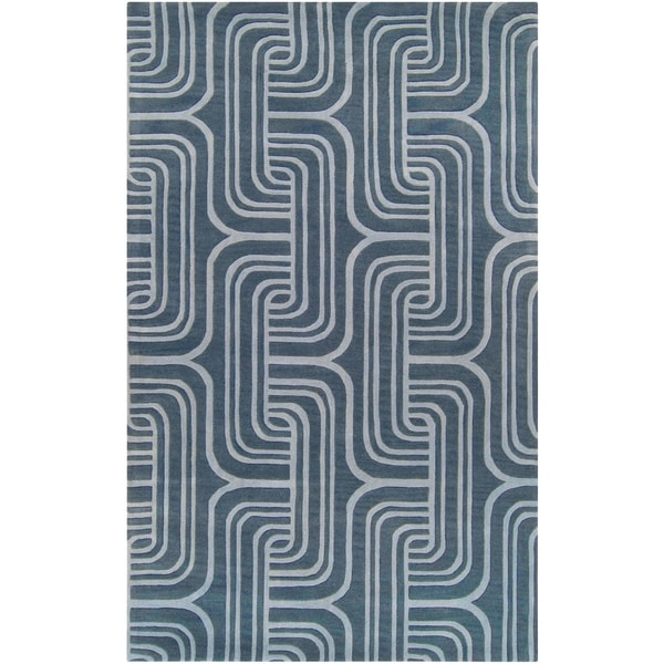 Hand-tufted Blue Contemporary Swirl Bunting Wool Abstract Area Rug - 5' x 8'