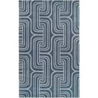 "Hand-tufted Blue Contemporary Swirl Bunting Wool Abstract Area Rug - 3'3"" x 5'3"""
