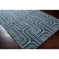 "Hand-tufted Blue Contemporary Swirl Bunting Wool Abstract Area Rug - 2'6"" x 8'"