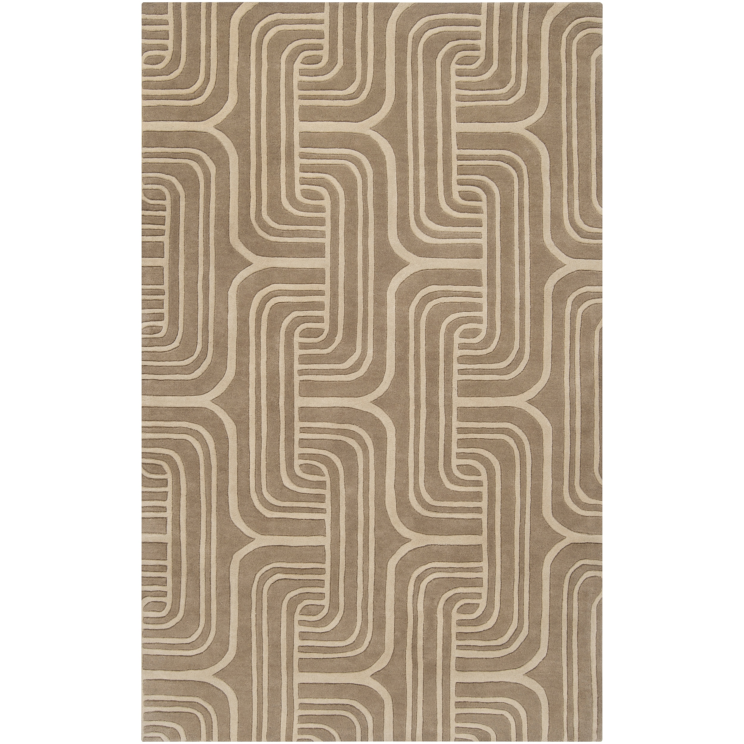 Hand-tufted Beige Contemporary Swirl Oasis Wool Abstract Rug (5' x 8')