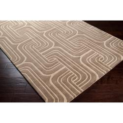 Hand-tufted Beige Contemporary Swirl Oasis Wool Abstract Rug (5' x 8') - Thumbnail 1