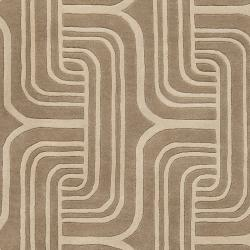 Hand-tufted Beige Contemporary Swirl Oasis Wool Abstract Rug (5' x 8') - Thumbnail 2