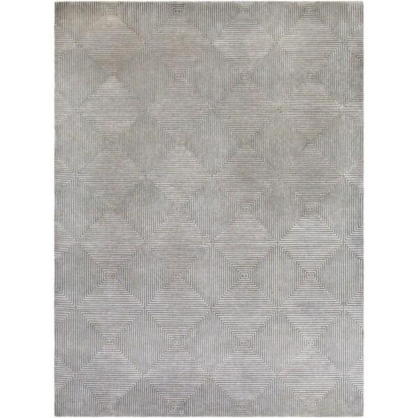 Hand-knotted Gray Apeiro Geometric Wool Area Rug - 8' x 11'