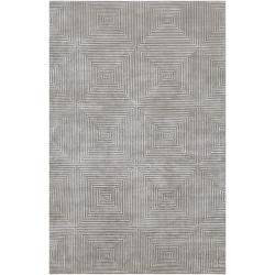 Hand-knotted Gray Apeiro Geometric Wool Area Rug - 5' x 8' - Thumbnail 0