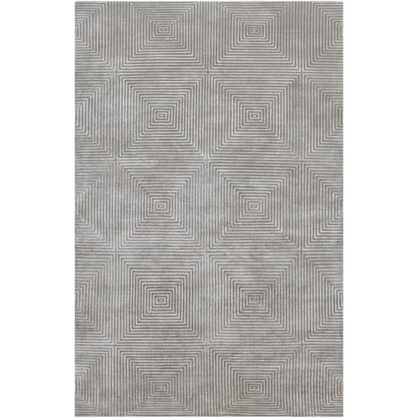 Hand-knotted Gray Apeiro Geometric Wool Area Rug - 5' x 8'