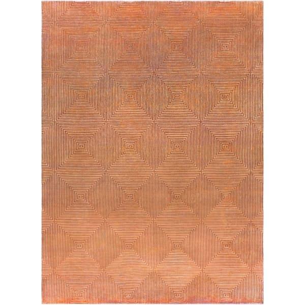 Hand-knotted Orange Arseno Geometric Wool Area Rug - 8' X 11'