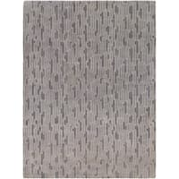 Hand-knotted Gray Arachne Geometric Wool Area Rug - 8' X 11'