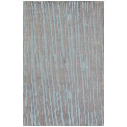 Hand-knotted Silver Asymmetri Abstract Plush Wool Rug (9' x 13')