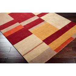 Hand-tufted Contemporary Multi Colored Squares Athazagora Wool Geometric Rug (9' x 13')