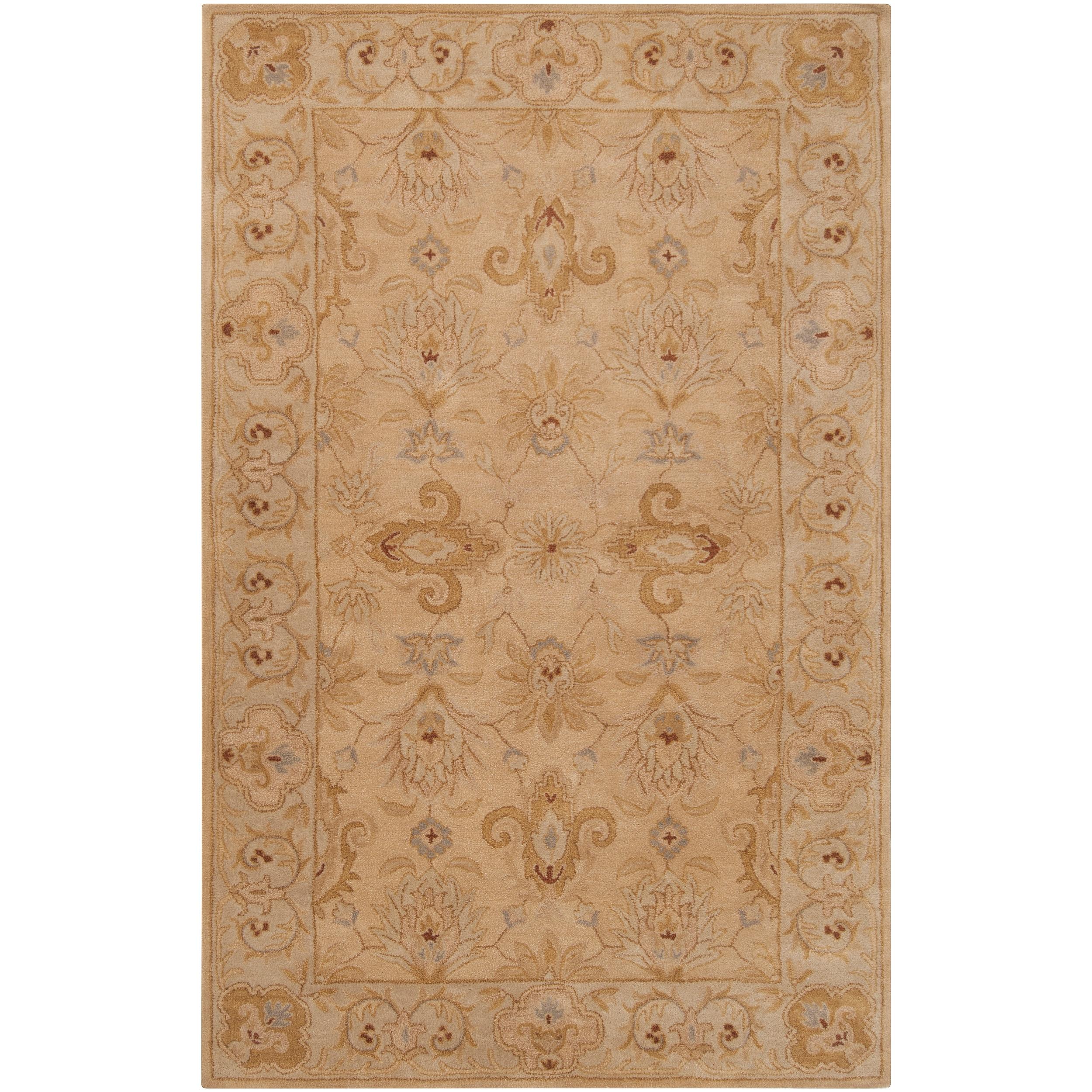 Hand-tufted Tan Acaro New Zealand Wool Rug (5' x 8')