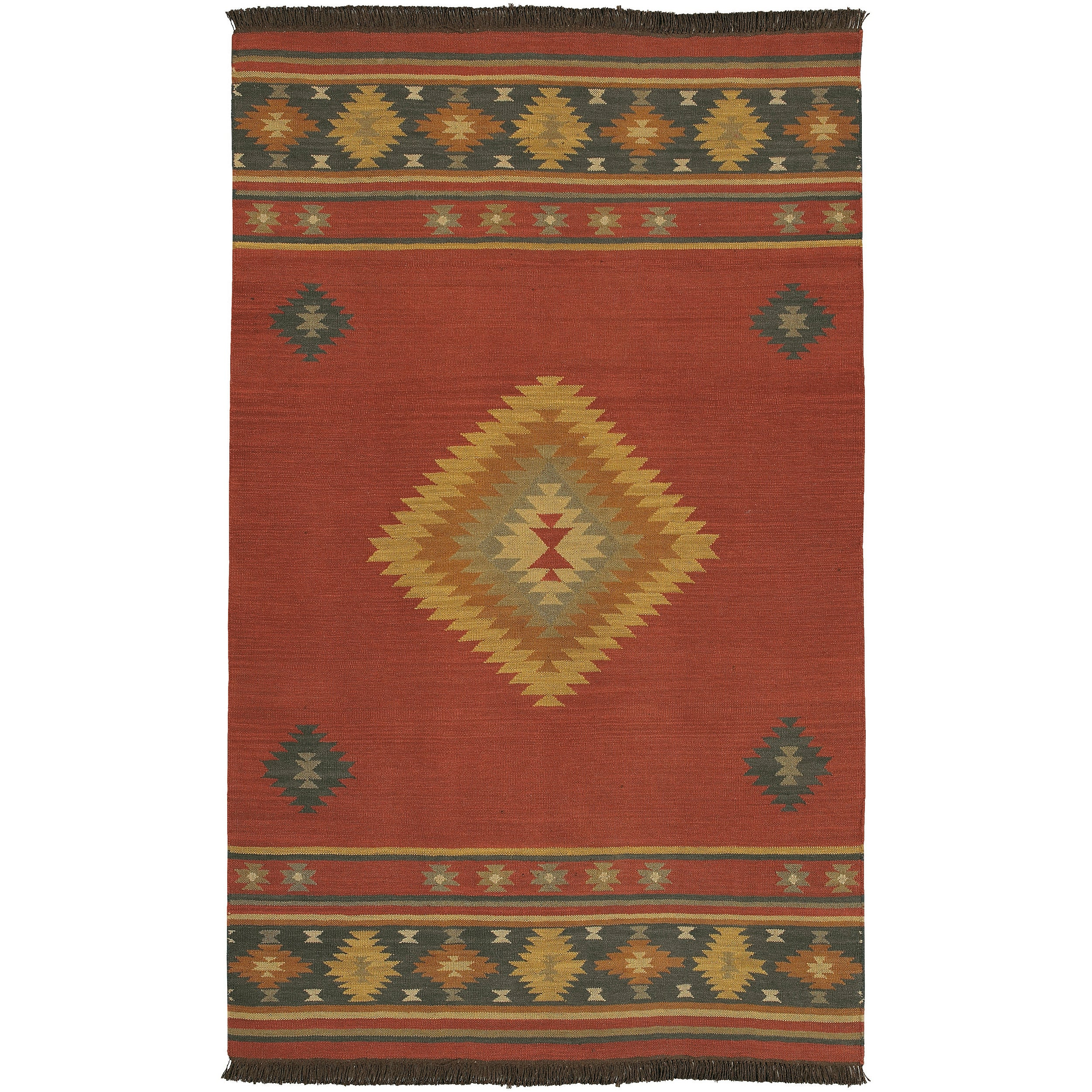 Home Decor 101 Hand Woven Burgundy Southwestern Aztec Acero Wool Rug 3 6