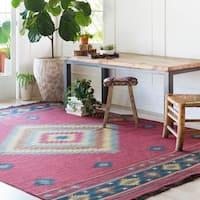 "Hand-woven Burgundy Southwestern Aztec Acero Wool Area Rug - 3'6"" x 5'6"""