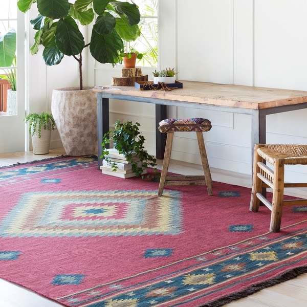 Hand-woven Burgundy Southwestern Aztec Acero Wool Rug (8' x 11')