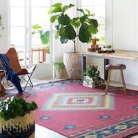 Hand-woven Burgundy Southwestern Aztec Acero Wool Area Rug - 8' x 11'
