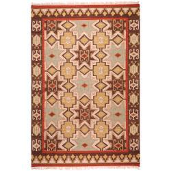 Hand-woven Tan/Red Southwestern Aztec Aerono Hard Twist Wool Rug (3'6 x 5'6)