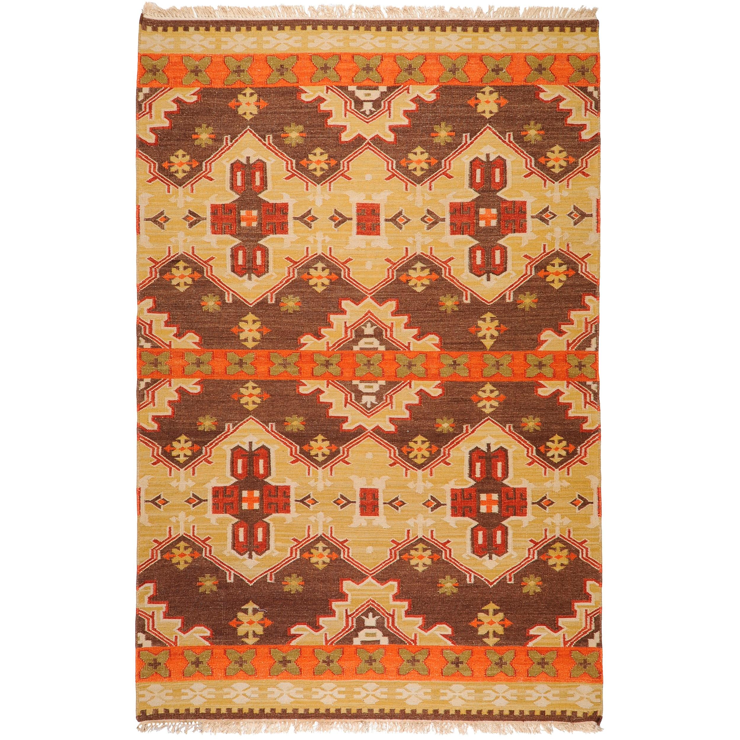 Hand Woven Orange Brown Southwestern Aztec Agora Hard
