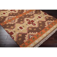Hand-woven Orange/Brown Southwestern Aztec Agora Hard Twist Wool Area Rug (8' x 11')