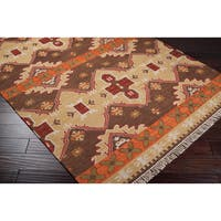 Hand-woven Orange/Brown Southwestern Aztec Agora Hard Twist Wool Area Rug - 8' x 11'