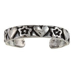 Sterling Silver Heart and Star Toe Ring