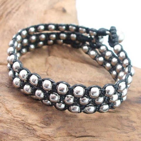 Handmade Set of 3 Cotton Wax Rope Silver Beads Radiance Bracelet (Thailand)