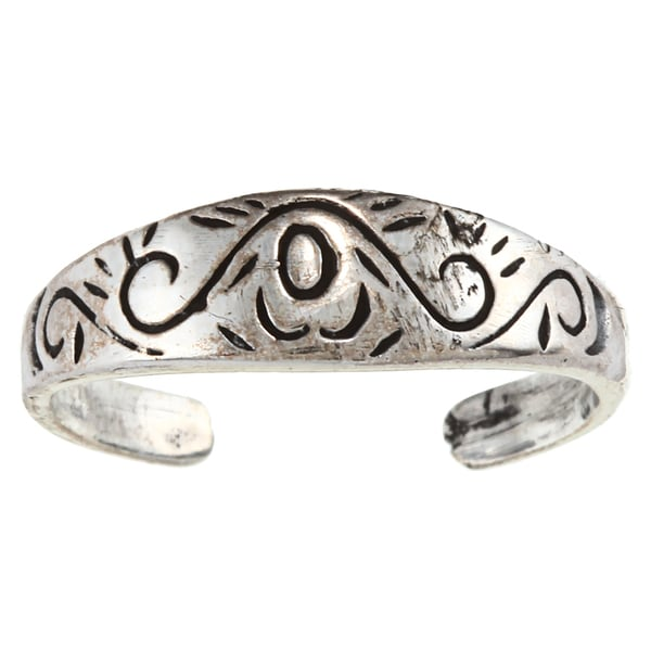 Sterling Silver Wind and Waves Toe Ring