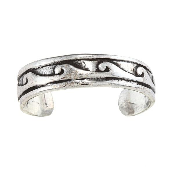 Sterling Silver Wave Design Toe Ring